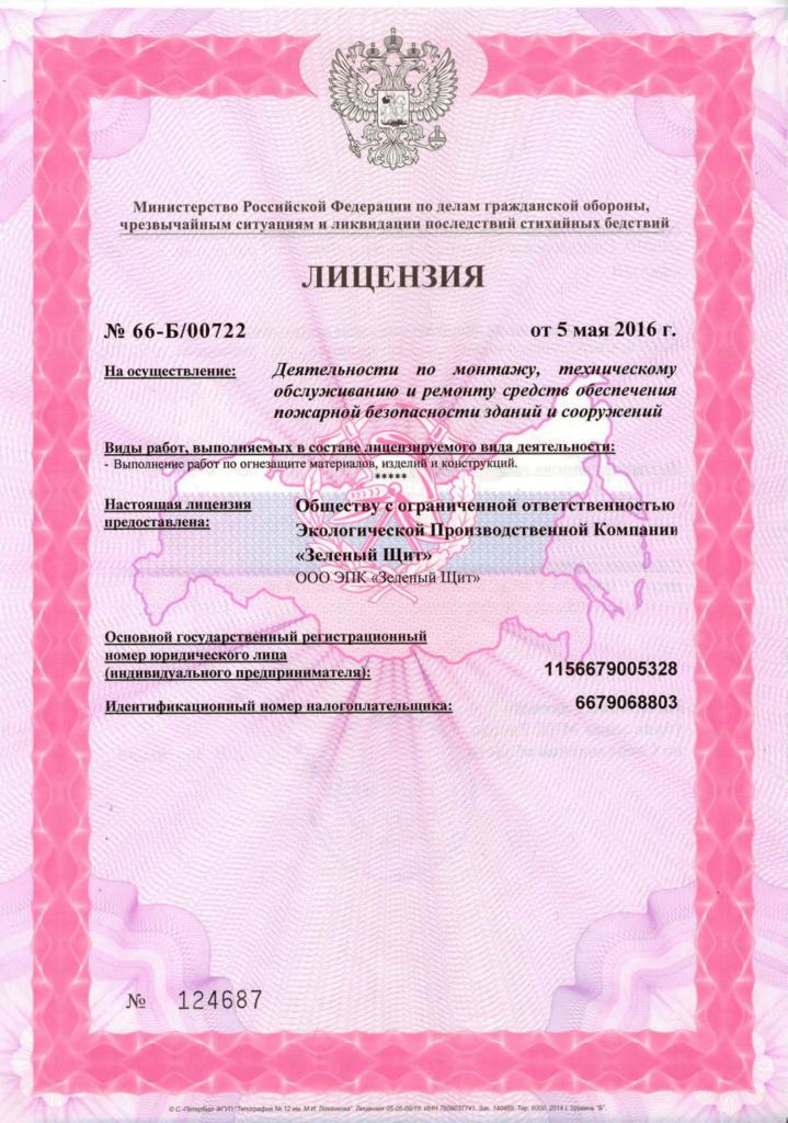 Лицензия МЧС - 2 компании ЭПК Зеленый щит